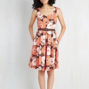 Modcloth Dress Large Pockets Floral Fall Brown Ora